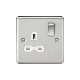 Knightsbridge Brushed Chrome 13A Single Switched Socket CL7BCW