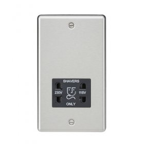 Knightsbridge Brushed Chrome Dual Voltage Shaver Socket CL89BC