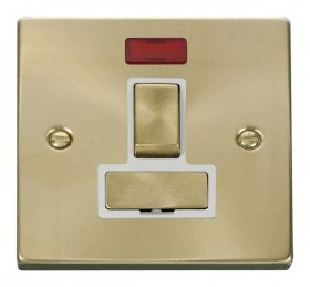 Click Deco Satin Brass Switched Fused Spur with Neon VPSB752WH