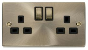 Click Deco Antique Brass 13A Double Switched Socket VPAB536BK