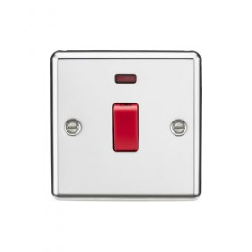 Knightsbridge Polished Chrome 45A 1 Gang Double Pole Switch Neon