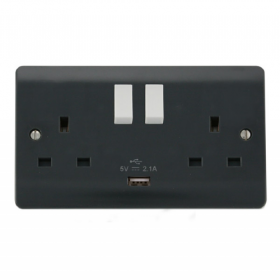 Click Mode Part M 2 Gang DP USB Switched Socket CMA770AG