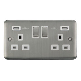 Click Deco Plus Twin USB Double Switched Socket DPSS580WH