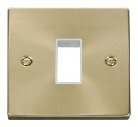 Click Deco Satin Brass 1 Gang Plate Single Aperture VPSB401WH