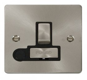 Click Define Brushed Steel Switched Fused Spur + F/O FPBS551BK