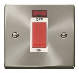 Click Deco Satin Chrome 1 Gang 45A DP Switch with Neon VPSC201WH