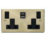 Click Deco Satin Brass Type A & C USB Double Socket VPSB786BK