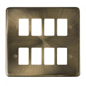 Click Deco Plus Ant/Brass 8 Gang Grid Pro Front Plate DPAB20508