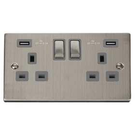 Click Deco Stainless Steel Twin USB Double Socket VPSS580GY