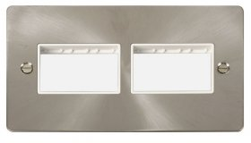 Click Define Brushed Steel Double Plate 6 Gang Aper FPBS406WH