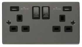 Click Deco Black Nickel Twin USB Double Socket VPBN580BK