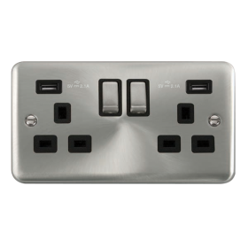 Click Deco Plus Satin Chrome Twin USB Double Socket DPSC580BK