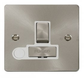 Click Define Brushed Steel Switched Fused Spur + F/O FPBS551WH