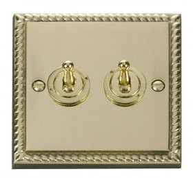 Click Deco Georgian Brass 2 Gang 2 Way Toggle Switch GCBR422