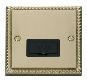 Click Deco Georgian Brass Unswitched Fused Spur GCBR650BK
