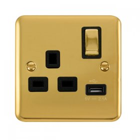 Click Deco Plus 13A Single Switched Socket USB DPBR571BK