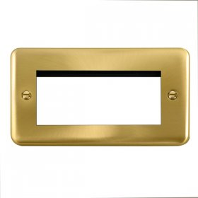 Click Deco Plus Satin Brass New Media Quad Plate DPSB312
