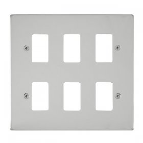 Click Deco Polished Chrome 6 Gang Grid Pro Front Plate VPCH20506