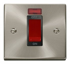 Click Deco Satin Chrome 1 Gang 45A DP Switch with Neon VPSC201BK