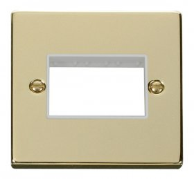 Click Deco Polished Brass Single Plate 3 Gang Aperture VPBR403WH
