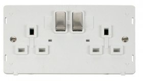 Click Definity 2 Gang Switched Socket Outlet Insert SIN536PWSS