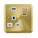 Click Deco Plus 13A Single Switched Socket USB DPSB571UWH