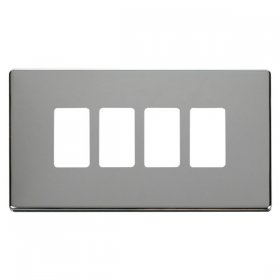 Click Definity Pol/Chrome 4 Gang Grid Pro Front Plate SCP20404CH