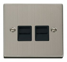 Click Deco Stainless Steel Master Telephone Socket VPSS121BK