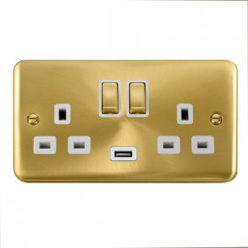 Click Deco Plus 13A Double Switched Socket USB DPSB570WH