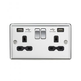 Knightsbridge Polished Chrome Dual USB Double Socket CL9224PC