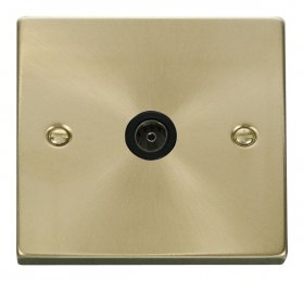 Click Deco Satin Brass Non-Isolated Coaxial Socket VPSB065BK
