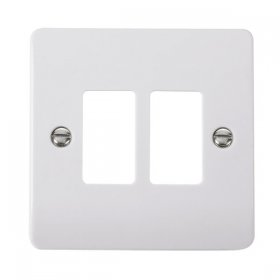 Click Mode White 2 Gang Grid Pro Front Plate CMA20402