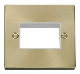 Click Deco Satin Brass 1 Gang Plate Triple Aperture VPSB403WH
