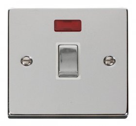 Click Deco Polished Chrome 20A Double Pole Switch Neon VPCH723WH
