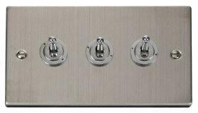 Click Deco Stainless Steel 3 Gang 2 Way Toggle Switch VPSS423