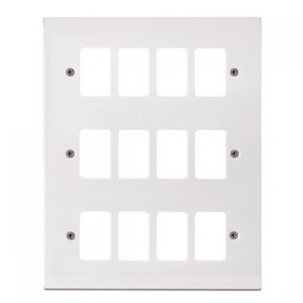 Click Polar White 12 Gang Grid Pro Front Plate PRW20512