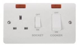 Click Mode 45A Cooker Switch + 13A Switched Socket & Neon CMA505