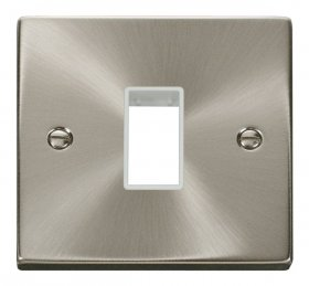 Click Deco Satin Chrome Single Plate 1 Gang Aperture VPSC401WH