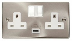 Click Deco Satin Chrome USB Double Switched Socket VPSC770WH