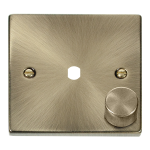 Click Antique Brass 1G Empty Dimmer Plate with Knob VPAB140PL