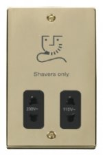 Click Deco Polished Brass Dual Voltage Shaver Socket VPBR100BK