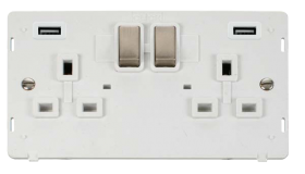Click Definity Twin USB Double Switched Socket Insert SIN580PWBS