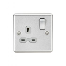 Knightsbridge Brushed Chrome 13A Single Switched Socket CL7BCG