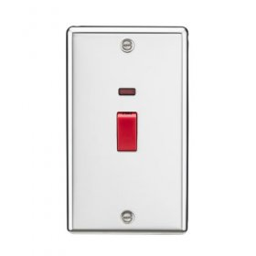 Knightsbridge Polished Chrome 45A 2 Gang Double Pole Switch Neon