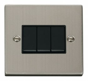 Click Deco Stainless Steel 3 Gang 2 Way Switch VPSS013BK