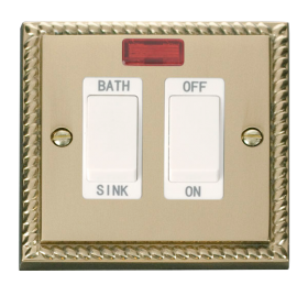 Click Deco Georgian Brass 20A DP Sink/Bath Switch GCBR024WH