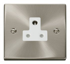 Click Deco Satin Chrome 5A Single Round Pin Socket VPSC038WH