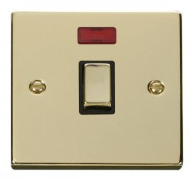 Click Deco Polished Brass 20A Double Pole Switch Neon VPBR723BK
