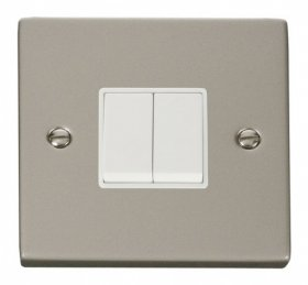 Click Deco Pearl Nickel 2 Gang 2 Way Switch VPPN012WH