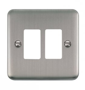 Click Deco Plus S/Steel 2 Gang Grid Pro Front Plate DPSS20402